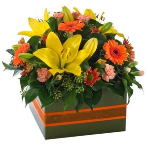 Blooms of Yarrawonga - Autumn tone box arrangement