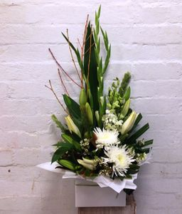 Large White Box arrangement Blooms of Yarrawonga