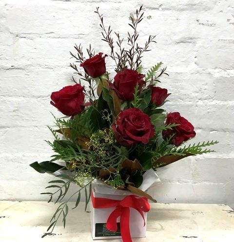 Red Rose Box Arrangement Blooms of Yarrawonga